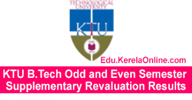 KTU B.Tech Odd and Even Semester Supplementary Revaluation Results