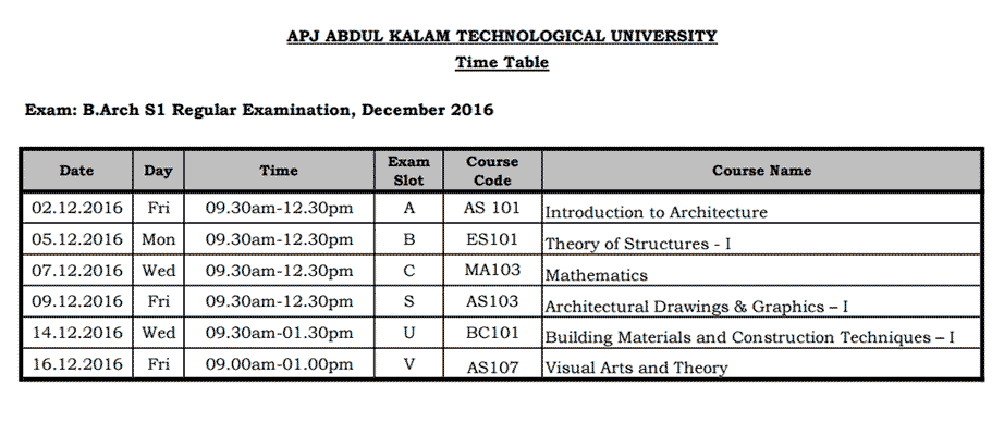 Time Table for KTU B.Arch First Semester Exams 2016