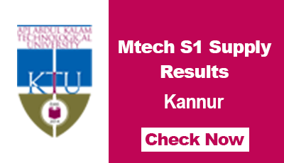 KTU Mtech S1 Supply Results Calicut